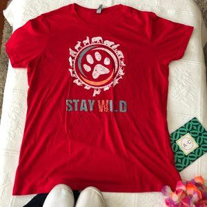 "NEW ""Stay Wild"" red graphic tshirt XXL"